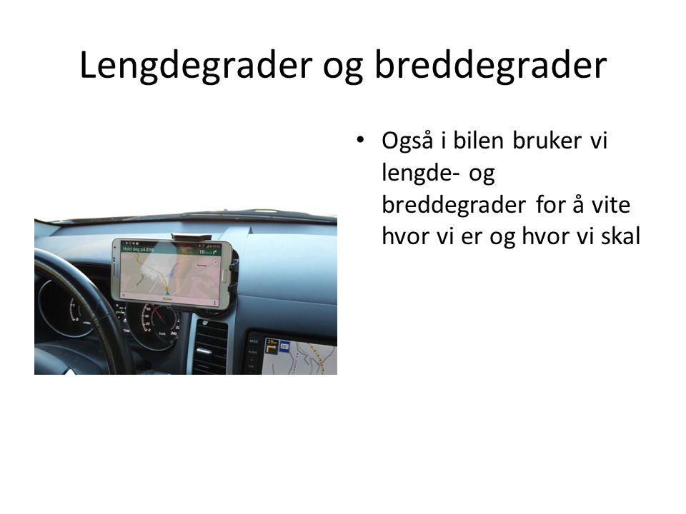 Lengdegrader og breddegrader Også i bilen bruker vi lengde- og breddegrader for å vite hvor vi er og hvor vi skal