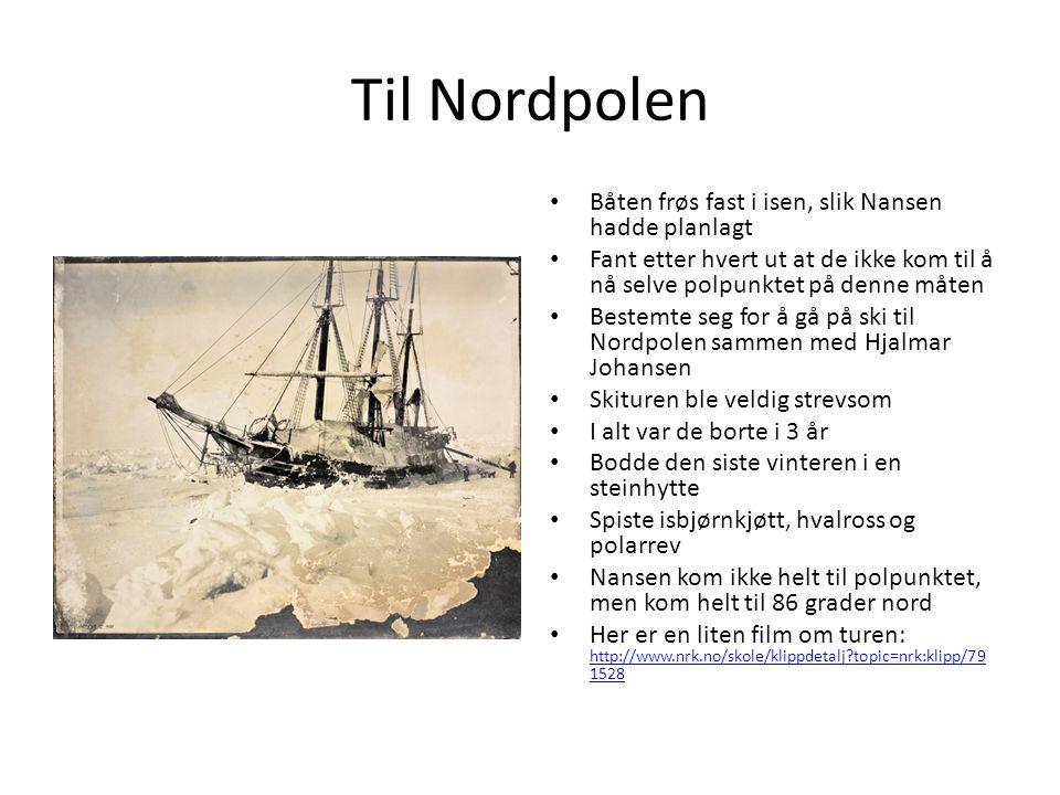 Til Nordpolen Båten frøs fast i isen, slik Nansen hadde planlagt Fant etter hvert ut at de ikke kom til å nå selve polpunktet på denne måten Bestemte