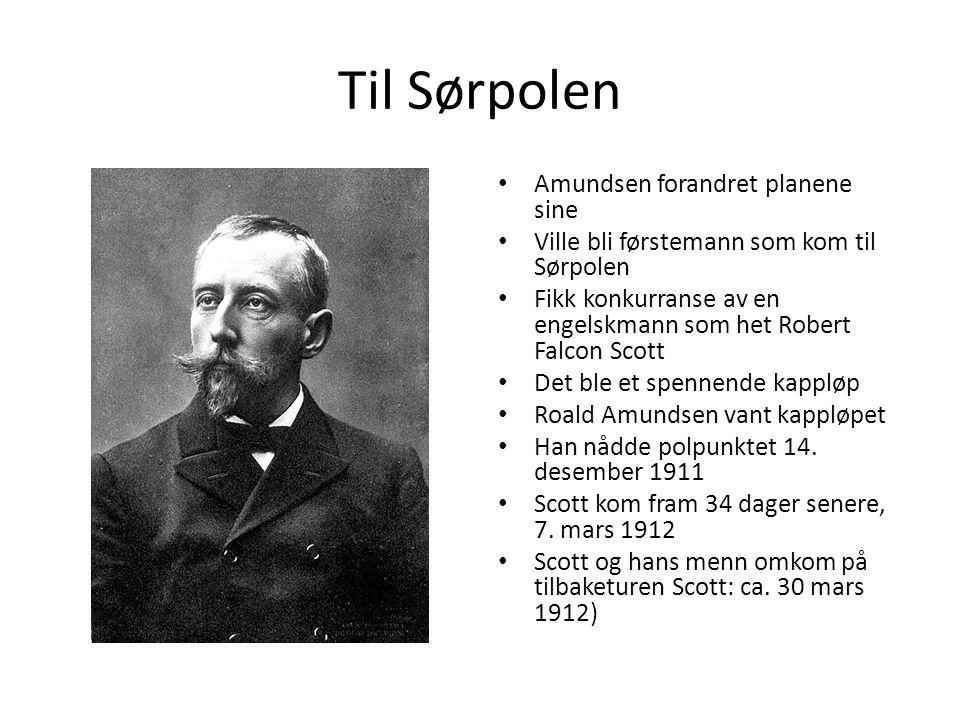 Til Sørpolen Amundsen forandret planene sine Ville bli førstemann som kom til Sørpolen Fikk konkurranse av en engelskmann som het Robert Falcon Scott