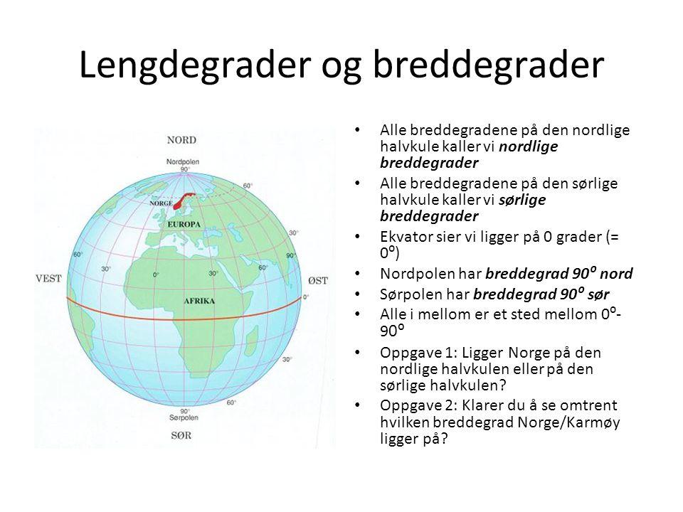 Lengdegrader og breddegrader Alle breddegradene på den nordlige halvkule kaller vi nordlige breddegrader Alle breddegradene på den sørlige halvkule ka