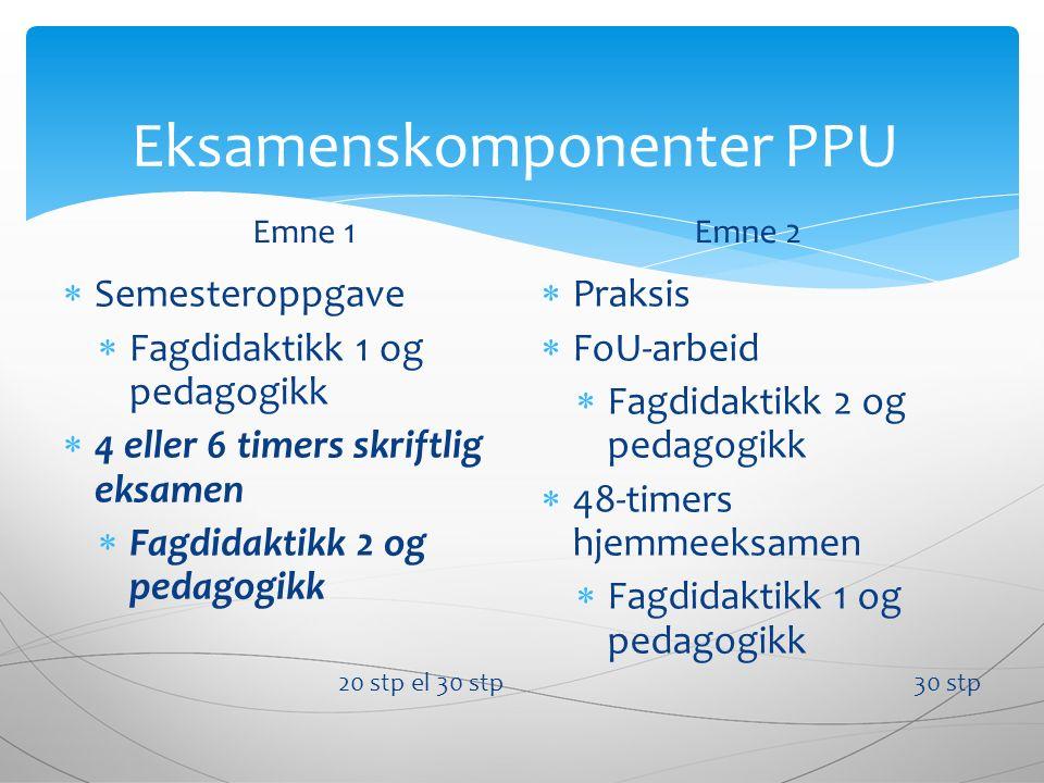 Eksamenskomponenter PPU Emne 1  Semesteroppgave  Fagdidaktikk 1 og pedagogikk  4 eller 6 timers skriftlig eksamen  Fagdidaktikk 2 og pedagogikk 20