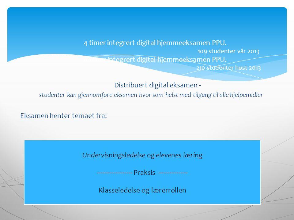 Distribuert digital eksamen - studenter kan gjennomføre eksamen hvor som helst med tilgang til alle hjelpemidler Eksamen henter temaet fra: 4 timer integrert digital hjemmeeksamen PPU.