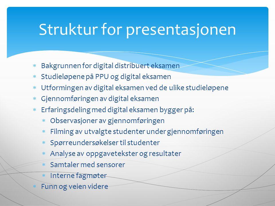  Bakgrunnen for digital distribuert eksamen  Studieløpene på PPU og digital eksamen  Utformingen av digital eksamen ved de ulike studieløpene  Gje
