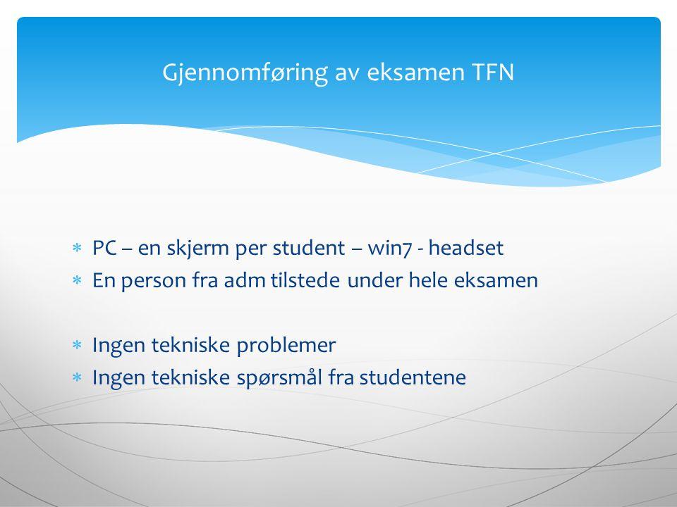  PC – en skjerm per student – win7 - headset  En person fra adm tilstede under hele eksamen  Ingen tekniske problemer  Ingen tekniske spørsmål fra studentene Gjennomføring av eksamen TFN