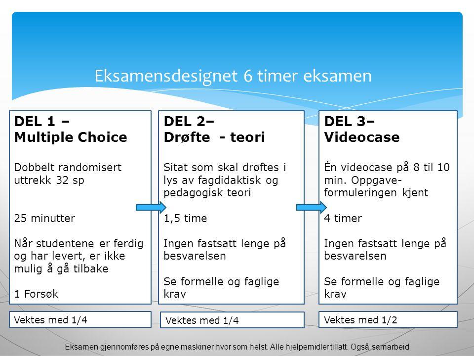 Eksamensdesignet 6 timer eksamen DEL 1 – Multiple Choice Dobbelt randomisert uttrekk 32 sp 25 minutter Når studentene er ferdig og har levert, er ikke