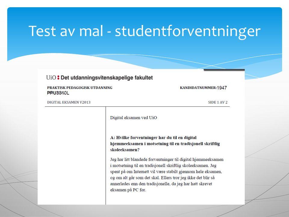 Test av mal - studentforventninger