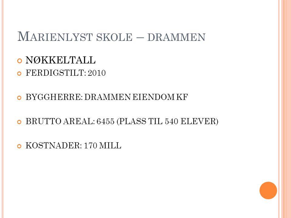 M ARIENLYST SKOLE – DRAMMEN NØKKELTALL FERDIGSTILT: 2010 BYGGHERRE: DRAMMEN EIENDOM KF BRUTTO AREAL: 6455 (PLASS TIL 540 ELEVER) KOSTNADER: 170 MILL