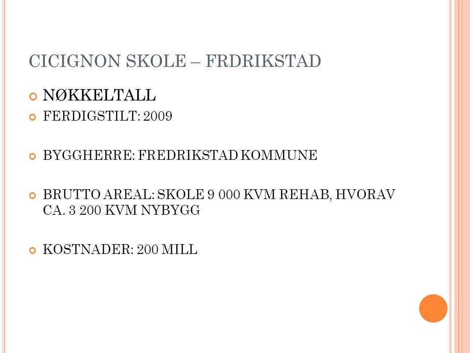 CICIGNON SKOLE – FRDRIKSTAD NØKKELTALL FERDIGSTILT: 2009 BYGGHERRE: FREDRIKSTAD KOMMUNE BRUTTO AREAL: SKOLE 9 000 KVM REHAB, HVORAV CA.