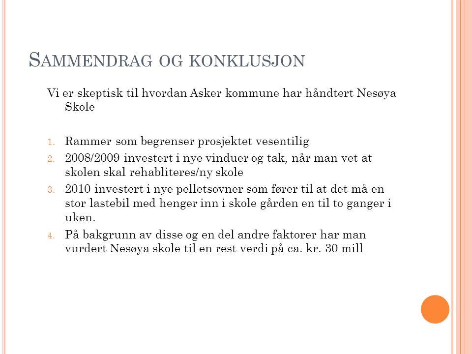 S AMMENDRAG OG KONKLUSJON Vi er skeptisk til hvordan Asker kommune har håndtert Nesøya Skole 1. Rammer som begrenser prosjektet vesentilig 2. 2008/200