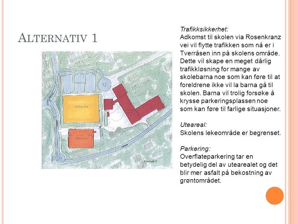 A LTERNATIV 1 Trafikksikkerhet: Adkomst til skolen via Rosenkranz vei vil flytte trafikken som nå er i Tverråsen inn på skolens område. Dette vil skap