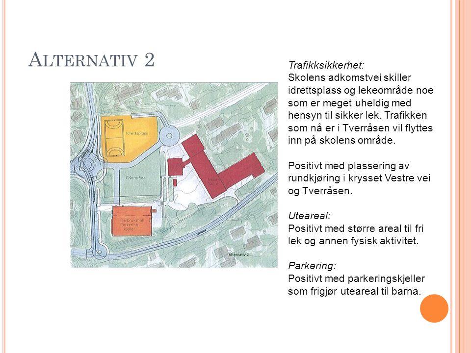 A LTERNATIV 2 Trafikksikkerhet: Skolens adkomstvei skiller idrettsplass og lekeområde noe som er meget uheldig med hensyn til sikker lek. Trafikken so