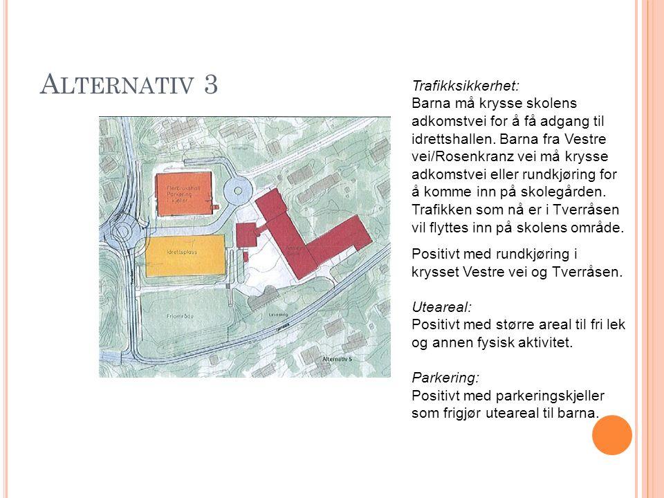 A LTERNATIV 3 Trafikksikkerhet: Barna må krysse skolens adkomstvei for å få adgang til idrettshallen.