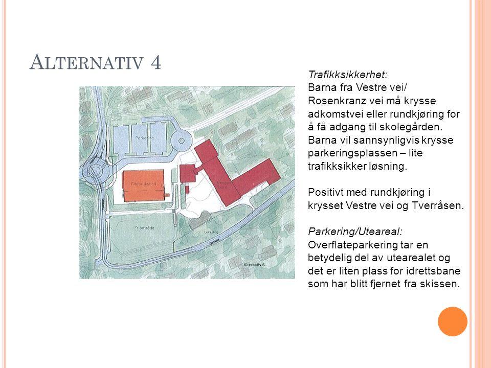 A LTERNATIV 4 Trafikksikkerhet: Barna fra Vestre vei/ Rosenkranz vei må krysse adkomstvei eller rundkjøring for å få adgang til skolegården. Barna vil