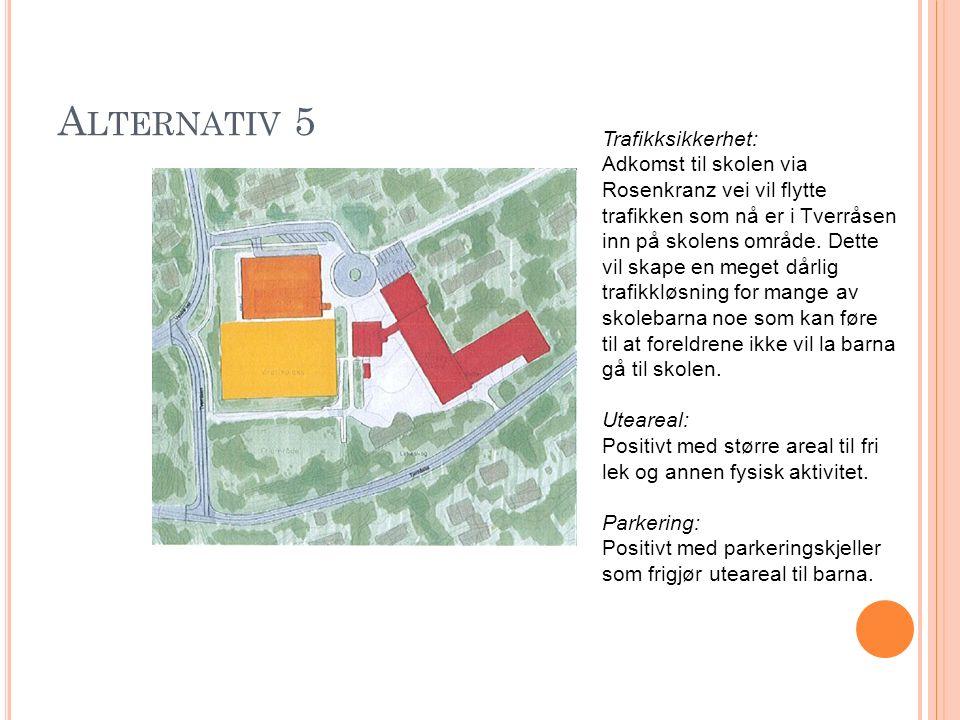 A LTERNATIV 5 Trafikksikkerhet: Adkomst til skolen via Rosenkranz vei vil flytte trafikken som nå er i Tverråsen inn på skolens område. Dette vil skap