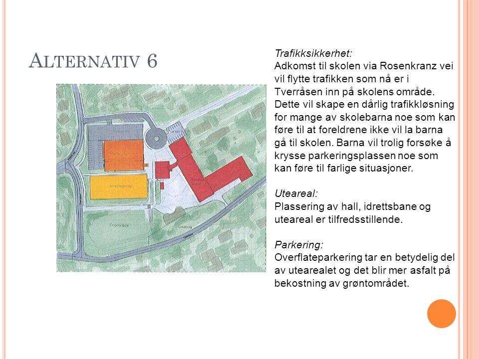 A LTERNATIV 6 Trafikksikkerhet: Adkomst til skolen via Rosenkranz vei vil flytte trafikken som nå er i Tverråsen inn på skolens område. Dette vil skap