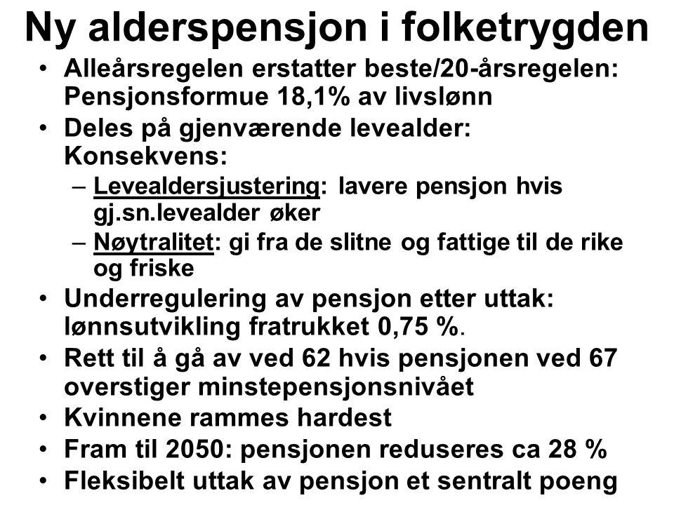Ny alderspensjon i folketrygden Alleårsregelen erstatter beste/20-årsregelen: Pensjonsformue 18,1% av livslønn Deles på gjenværende levealder: Konsekvens: –Levealdersjustering: lavere pensjon hvis gj.sn.levealder øker –Nøytralitet: gi fra de slitne og fattige til de rike og friske Underregulering av pensjon etter uttak: lønnsutvikling fratrukket 0,75 %.