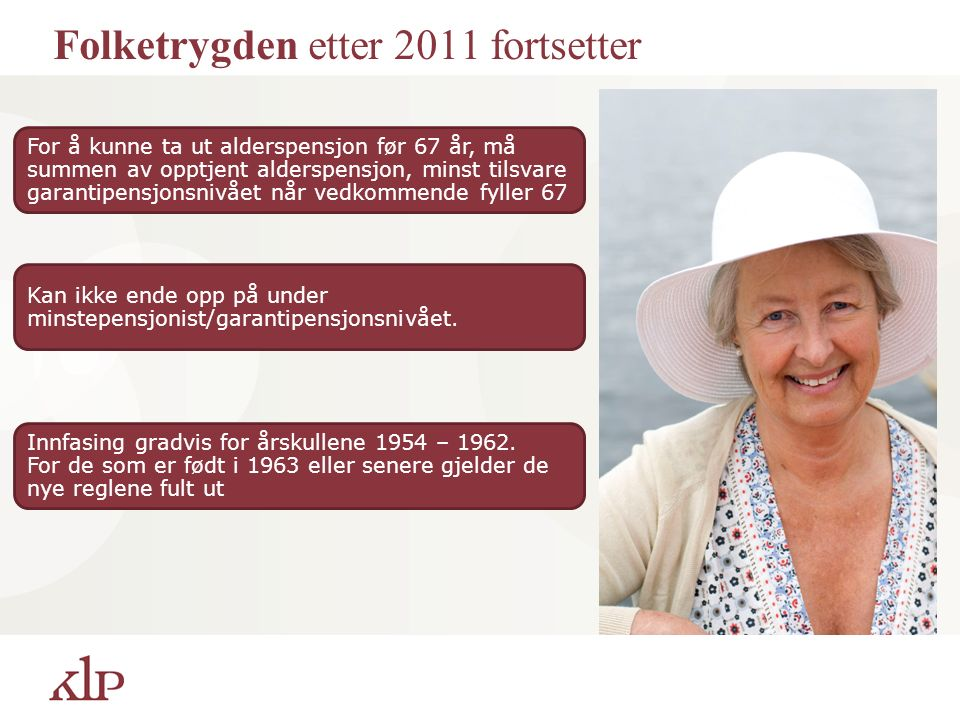 Folketrygden etter 2011 fortsetter For å kunne ta ut alderspensjon før 67 år, må summen av opptjent alderspensjon, minst tilsvare garantipensjonsnivået når vedkommende fyller 67 Innfasing gradvis for årskullene 1954 – 1962.