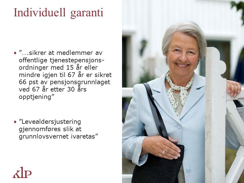 Individuell garanti ….sikrer at medlemmer av offentlige tjenestepensjons- ordninger med 15 år eller mindre igjen til 67 år er sikret 66 pst av pensjonsgrunnlaget ved 67 år etter 30 års opptjening Levealdersjustering gjennomføres slik at grunnlovsvernet ivaretas