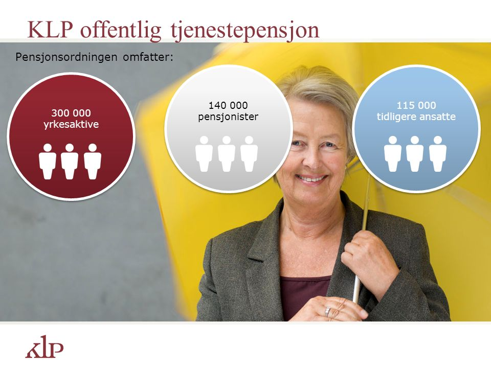 KLP offentlig tjenestepensjon Pensjonsordningen omfatter: 300 000 yrkesaktive 115 000 tidligere ansatte 140 000 pensjonister