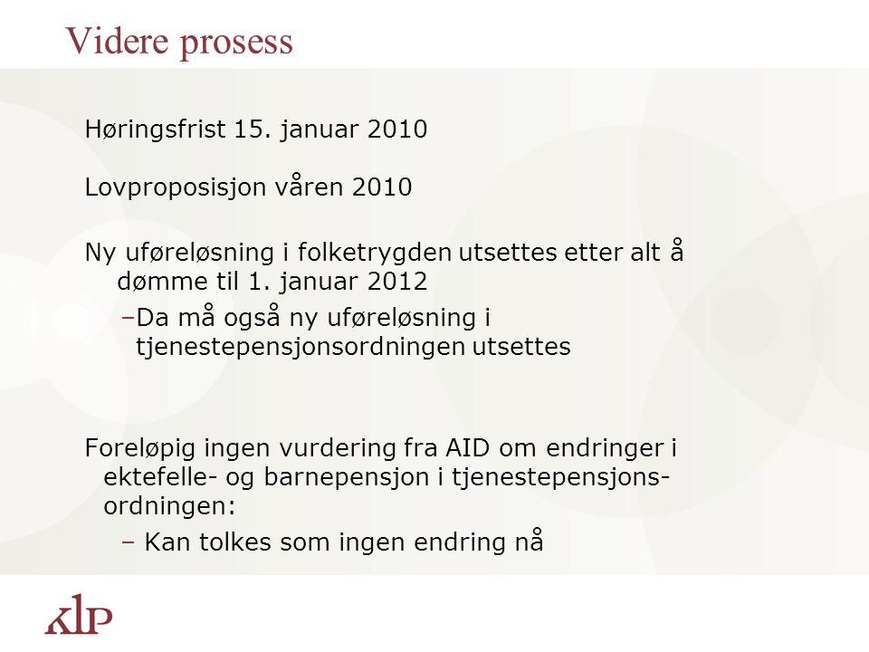 Videre prosess Høringsfrist 15.