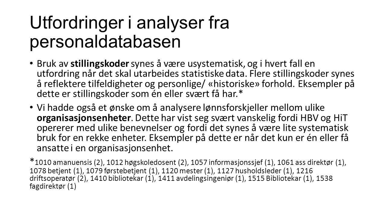 Utfordringer i analyser fra personaldatabasen Bruk av stillingskoder synes å være usystematisk, og i hvert fall en utfordring når det skal utarbeides statistiske data.