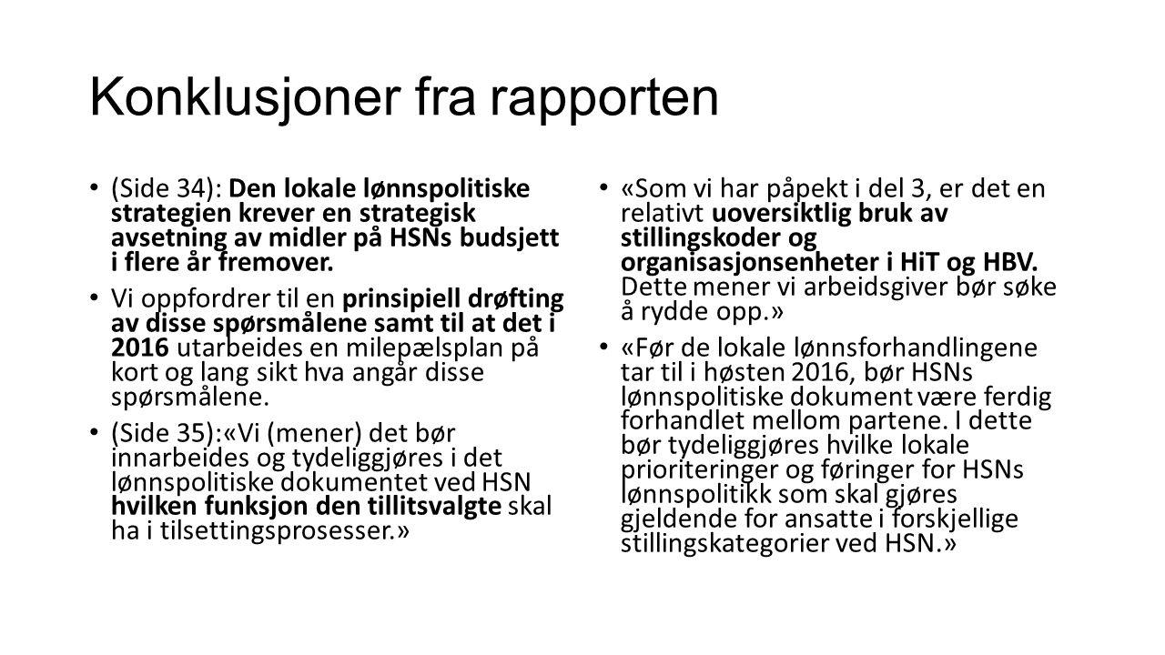 Konklusjoner fra rapporten (Side 34): Den lokale lønnspolitiske strategien krever en strategisk avsetning av midler på HSNs budsjett i flere år fremover.