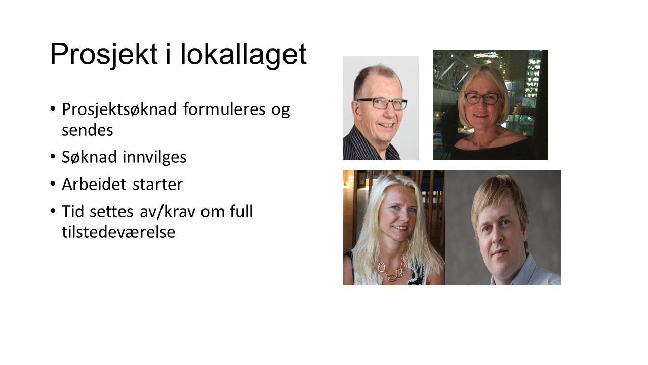 Prosjekt i lokallaget Prosjektsøknad formuleres og sendes Søknad innvilges Arbeidet starter Tid settes av/krav om full tilstedeværelse