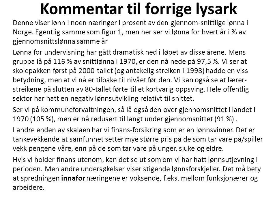 Kommentar til forrige lysark Denne viser lønn i noen næringer i prosent av den gjennom-snittlige lønna i Norge. Egentlig samme som figur 1, men her se