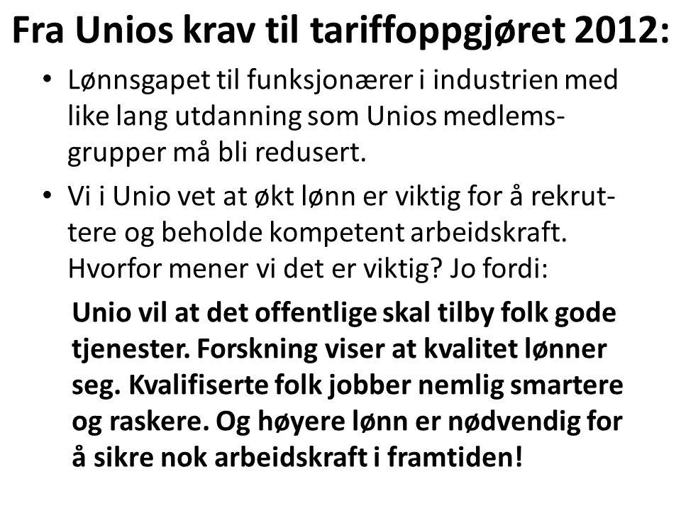 Fra Unios krav til tariffoppgjøret 2012: Lønnsgapet til funksjonærer i industrien med like lang utdanning som Unios medlems- grupper må bli redusert.