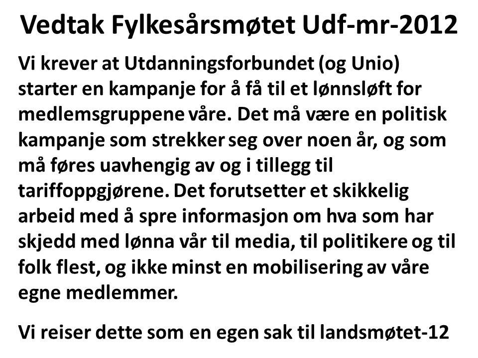 Vedtak Fylkesårsmøtet Udf-mr-2012 Vi krever at Utdanningsforbundet (og Unio) starter en kampanje for å få til et lønnsløft for medlemsgruppene våre. D