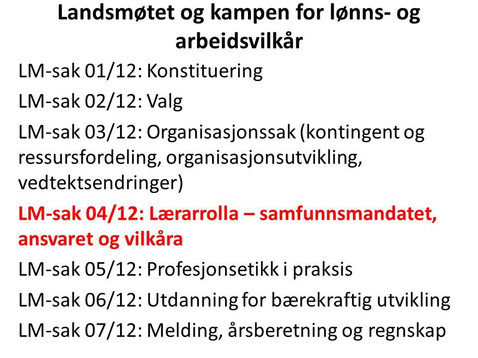 Landsmøtet og kampen for lønns- og arbeidsvilkår LM-sak 01/12: Konstituering LM-sak 02/12: Valg LM-sak 03/12: Organisasjonssak (kontingent og ressursfordeling, organisasjonsutvikling, vedtektsendringer) LM-sak 04/12: Lærarrolla – samfunnsmandatet, ansvaret og vilkåra LM-sak 05/12: Profesjonsetikk i praksis LM-sak 06/12: Utdanning for bærekraftig utvikling LM-sak 07/12: Melding, årsberetning og regnskap LM-sak 01/12: Konstituering LM-sak 02/12: Valg LM-sak 03/12: Organisasjonssak (kontingent og ressursfordeling, organisasjonsutvikling, vedtektsendringer) LM-sak 04/12: Lærarrolla – samfunnsmandatet, ansvaret og vilkåra LM-sak 05/12: Profesjonsetikk i praksis LM-sak 06/12: Utdanning for bærekraftig utvikling LM-sak 07/12: Melding, årsberetning og regnskap