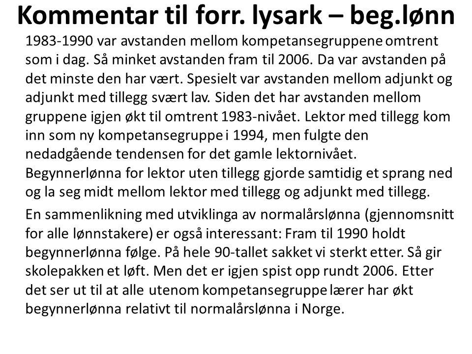 Kommentar til forr. lysark – beg.lønn 1983-1990 var avstanden mellom kompetansegruppene omtrent som i dag. Så minket avstanden fram til 2006. Da var a