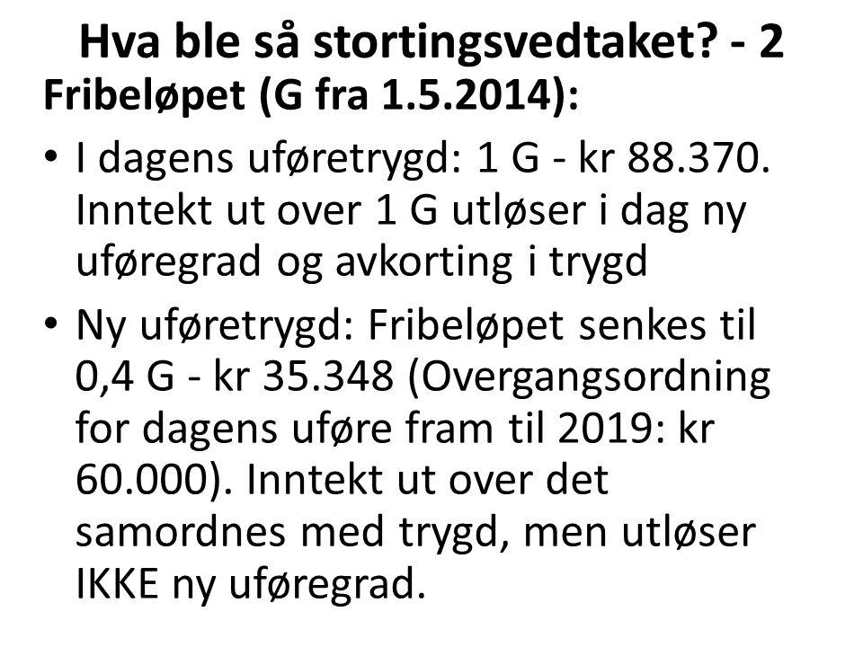 Fribeløpet (G fra 1.5.2014): I dagens uføretrygd: 1 G - kr 88.370.