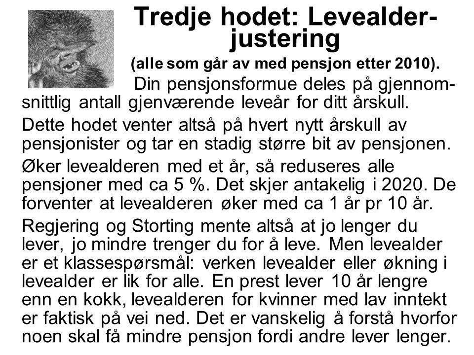 Tredje hodet: Levealder- justering (alle som går av med pensjon etter 2010).