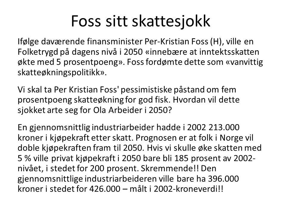 Foss sitt skattesjokk Ifølge daværende finansminister Per-Kristian Foss (H), ville en Folketrygd på dagens nivå i 2050 «innebære at inntektsskatten økte med 5 prosentpoeng».