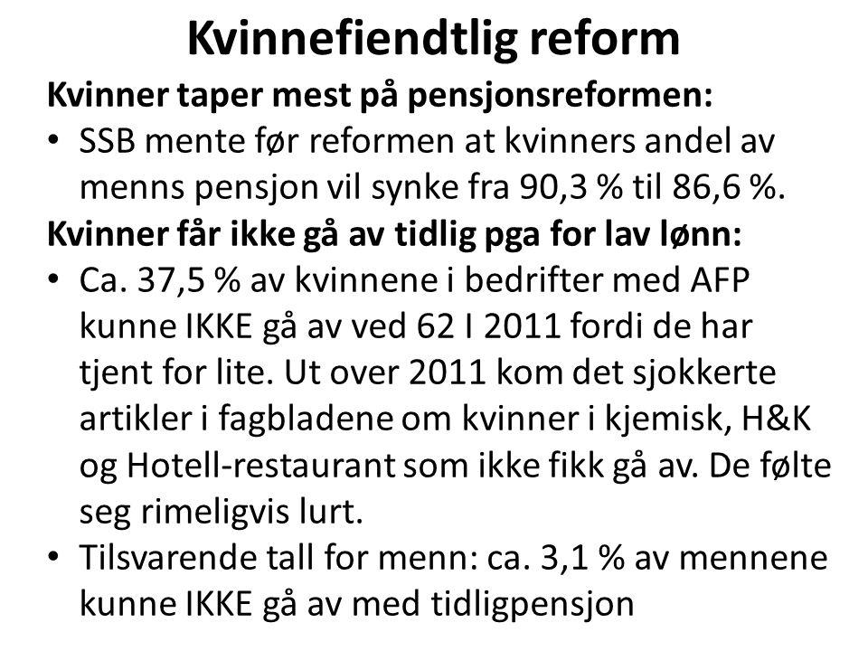 Kvinnefiendtlig reform Kvinner taper mest på pensjonsreformen: SSB mente før reformen at kvinners andel av menns pensjon vil synke fra 90,3 % til 86,6 %.
