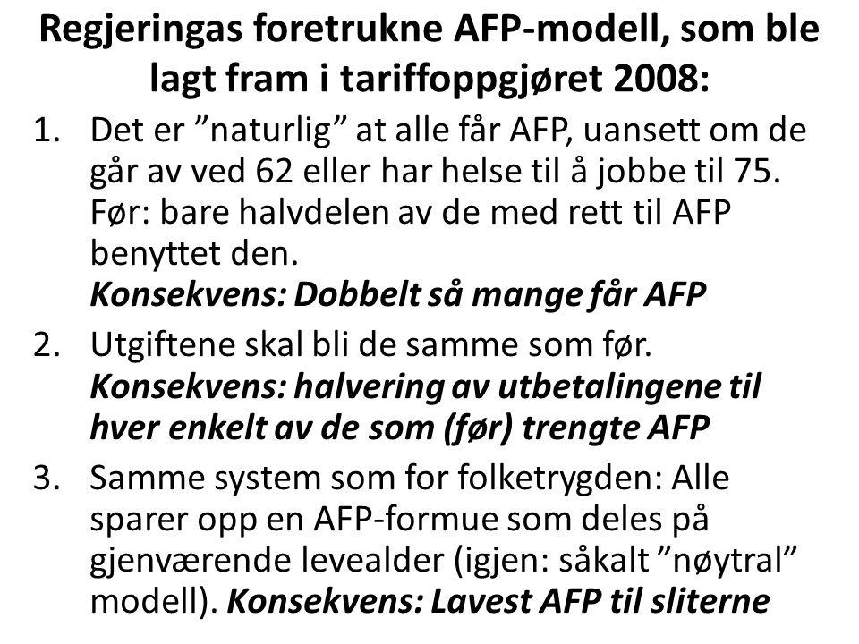 Regjeringas foretrukne AFP-modell, som ble lagt fram i tariffoppgjøret 2008: 1.Det er naturlig at alle får AFP, uansett om de går av ved 62 eller har helse til å jobbe til 75.