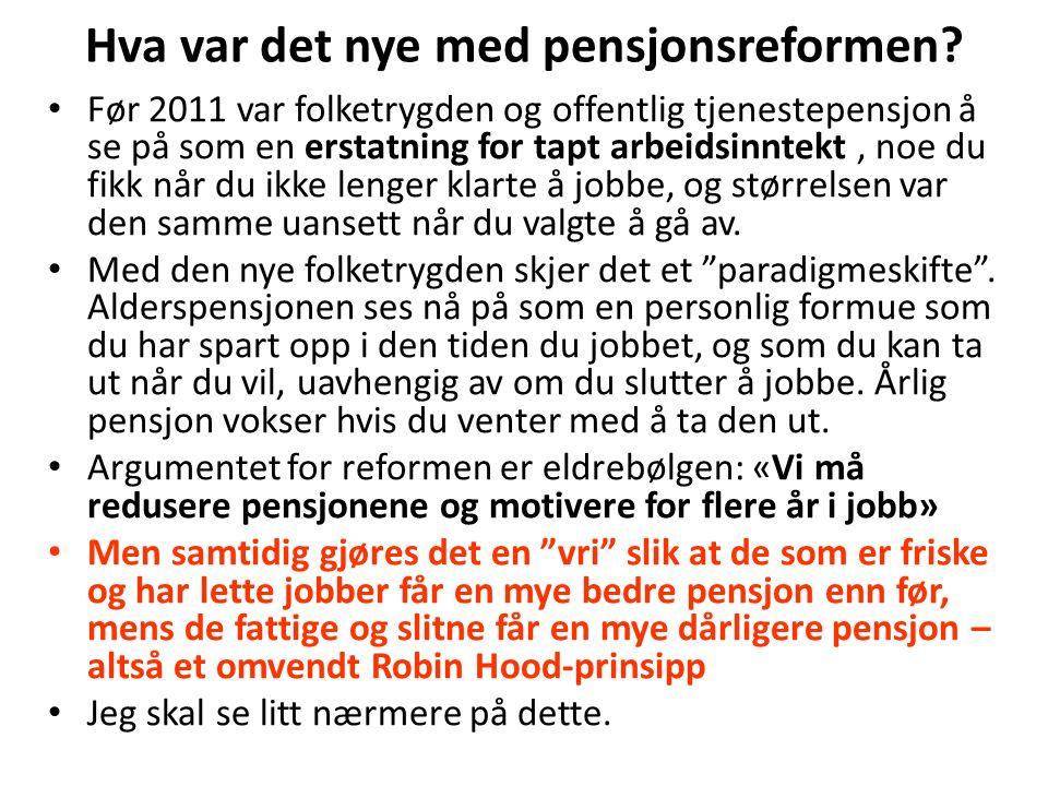 Utbetaling av alderpensjon I gammel folketrygd: Et grunnbeløp (G) pluss et tillegg i forhold til pensjonspoengene du har tjent opp.