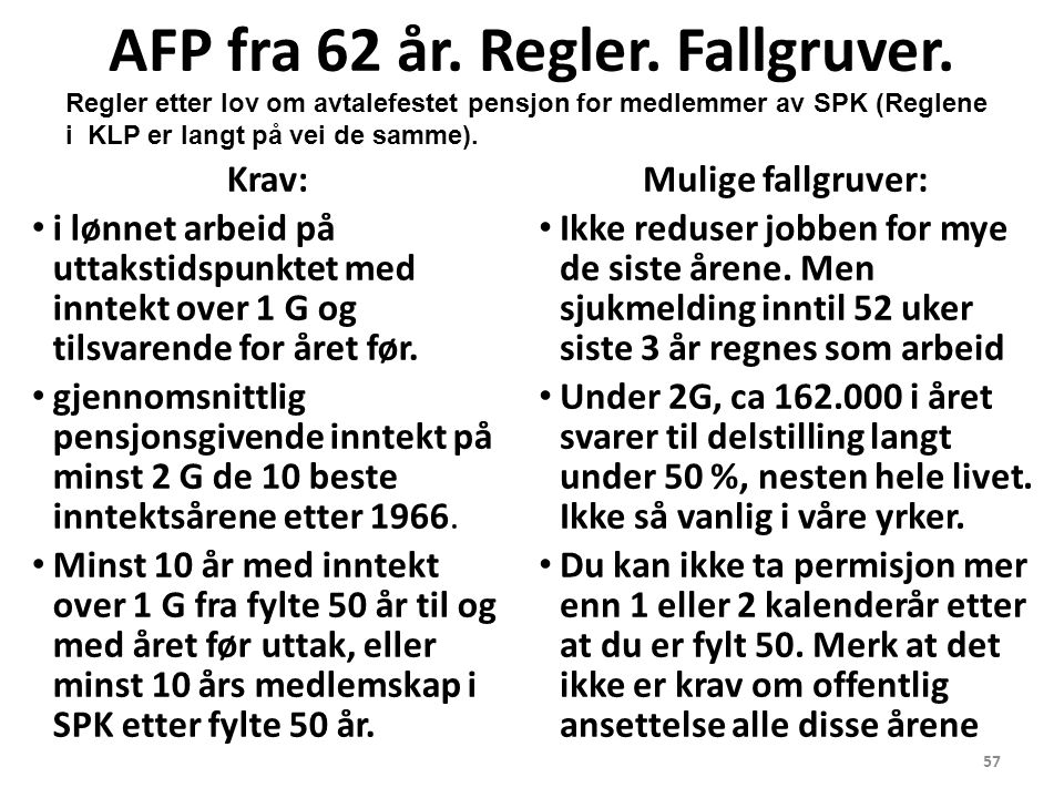 57 AFP fra 62 år. Regler. Fallgruver.