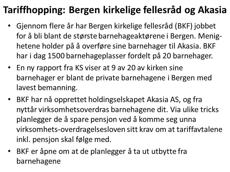 Tariffhopping: Bergen kirkelige fellesråd og Akasia Gjennom flere år har Bergen kirkelige fellesråd (BKF) jobbet for å bli blant de største barnehageaktørene i Bergen.