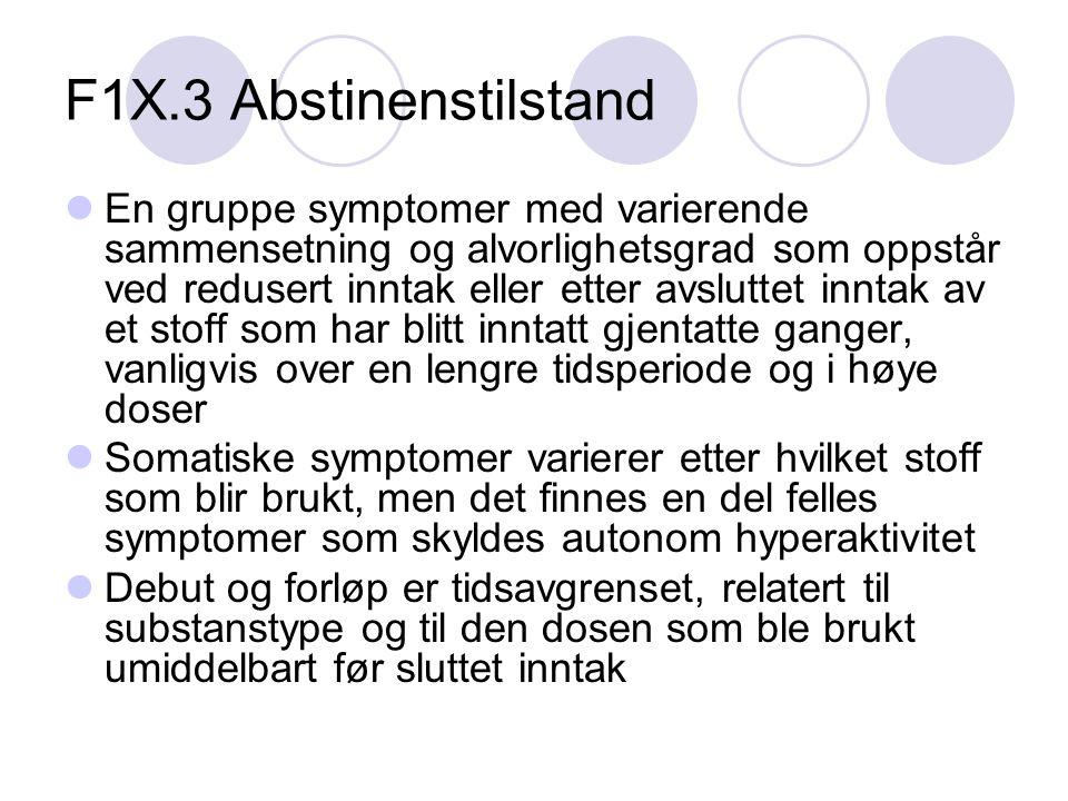 F1X.3 Abstinenstilstand En gruppe symptomer med varierende sammensetning og alvorlighetsgrad som oppstår ved redusert inntak eller etter avsluttet inntak av et stoff som har blitt inntatt gjentatte ganger, vanligvis over en lengre tidsperiode og i høye doser Somatiske symptomer varierer etter hvilket stoff som blir brukt, men det finnes en del felles symptomer som skyldes autonom hyperaktivitet Debut og forløp er tidsavgrenset, relatert til substanstype og til den dosen som ble brukt umiddelbart før sluttet inntak