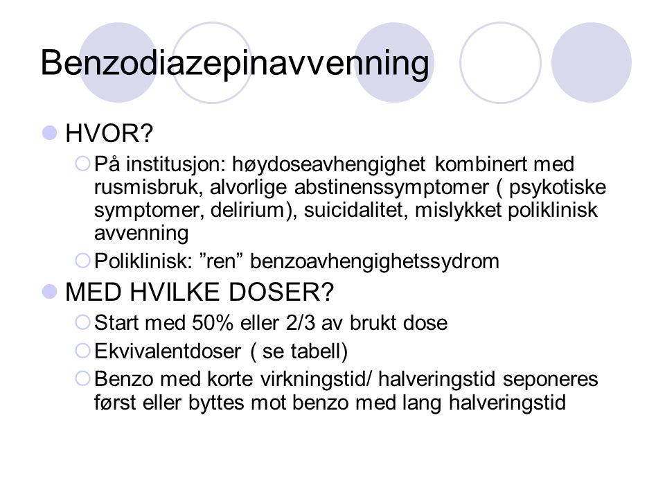 Benzodiazepinavvenning HVOR?  På institusjon: høydoseavhengighet kombinert med rusmisbruk, alvorlige abstinenssymptomer ( psykotiske symptomer, delir