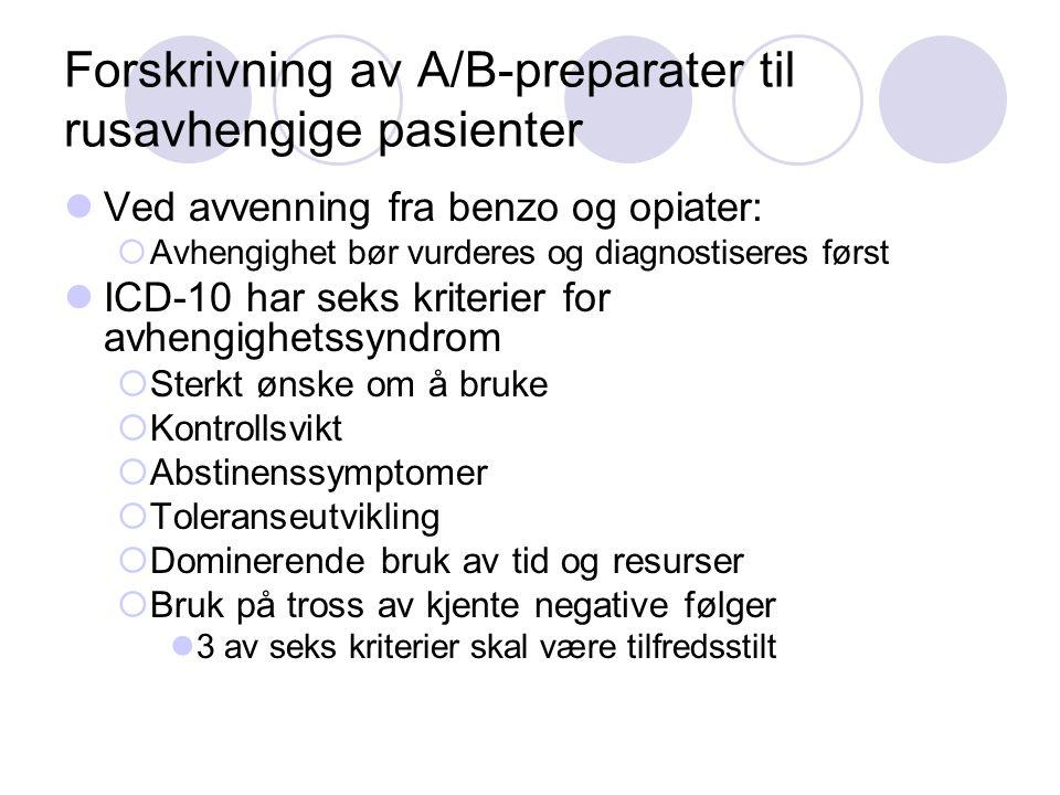 Forskrivning av A/B-preparater til rusavhengige pasienter Ved avvenning fra benzo og opiater:  Avhengighet bør vurderes og diagnostiseres først ICD-1