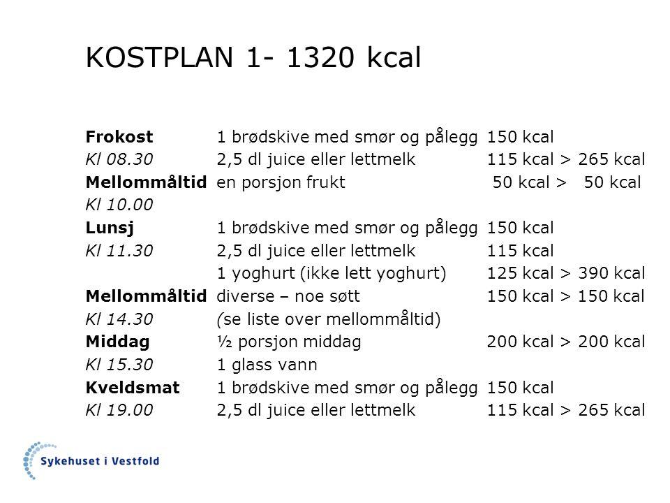 KOSTPLAN 1- 1320 kcal Frokost1 brødskive med smør og pålegg150 kcal Kl 08.30 2,5 dl juice eller lettmelk115 kcal >265 kcal Mellommåltiden porsjon frukt 50 kcal > 50 kcal Kl 10.00 Lunsj1 brødskive med smør og pålegg150 kcal Kl 11.302,5 dl juice eller lettmelk115 kcal 1 yoghurt (ikke lett yoghurt)125 kcal >390 kcal Mellommåltiddiverse – noe søtt150 kcal > 150 kcal Kl 14.30(se liste over mellommåltid) Middag½ porsjon middag200 kcal >200 kcal Kl 15.301 glass vann Kveldsmat1 brødskive med smør og pålegg150 kcal Kl 19.002,5 dl juice eller lettmelk115 kcal >265 kcal