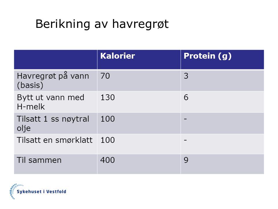 Berikning av havregrøt KalorierProtein (g) Havregrøt på vann (basis) 703 Bytt ut vann med H-melk 1306 Tilsatt 1 ss nøytral olje 100- Tilsatt en smørklatt100- Til sammen4009