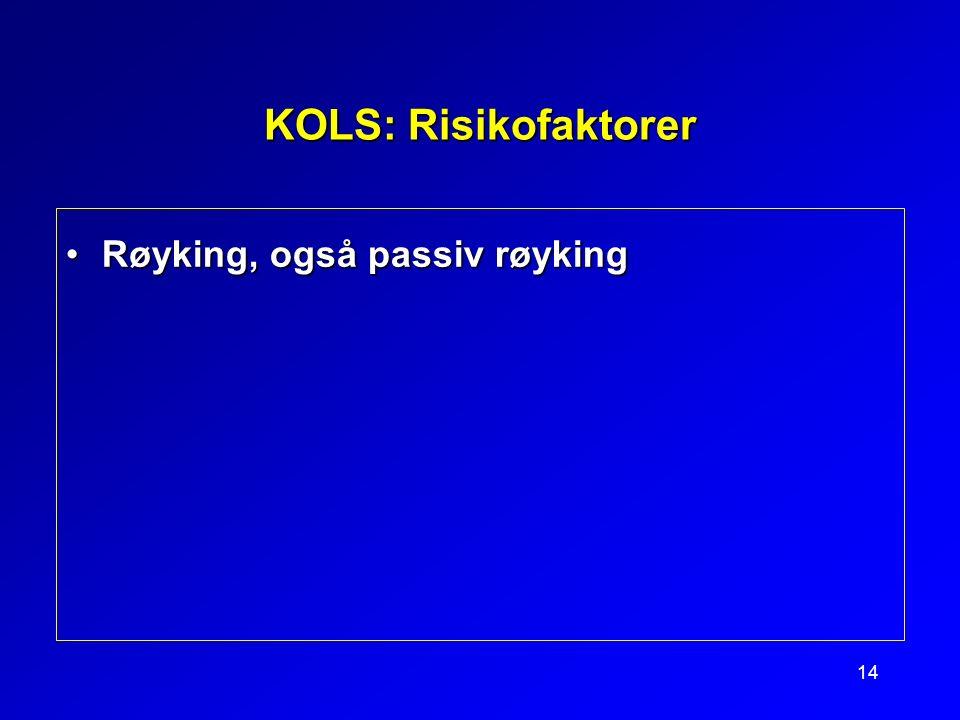 14 KOLS: Risikofaktorer Røyking, også passiv røykingRøyking, også passiv røyking