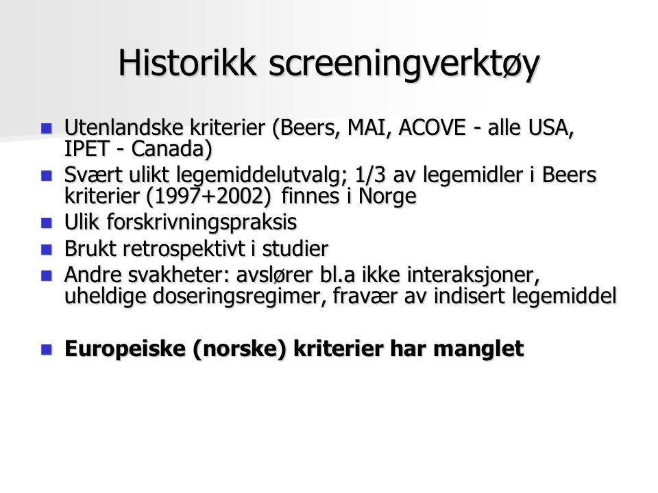 Historikk screeningverktøy Utenlandske kriterier (Beers, MAI, ACOVE - alle USA, IPET - Canada) Utenlandske kriterier (Beers, MAI, ACOVE - alle USA, IP