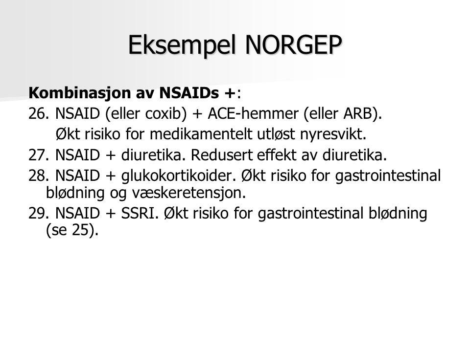 Eksempel NORGEP Kombinasjon av NSAIDs +: 26. NSAID (eller coxib) + ACE-hemmer (eller ARB). Økt risiko for medikamentelt utløst nyresvikt. 27. NSAID +