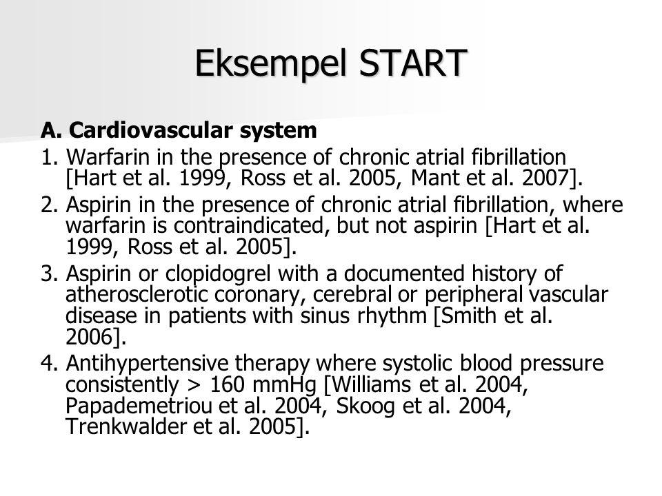 Eksempel START A. Cardiovascular system 1. Warfarin in the presence of chronic atrial fibrillation [Hart et al. 1999, Ross et al. 2005, Mant et al. 20