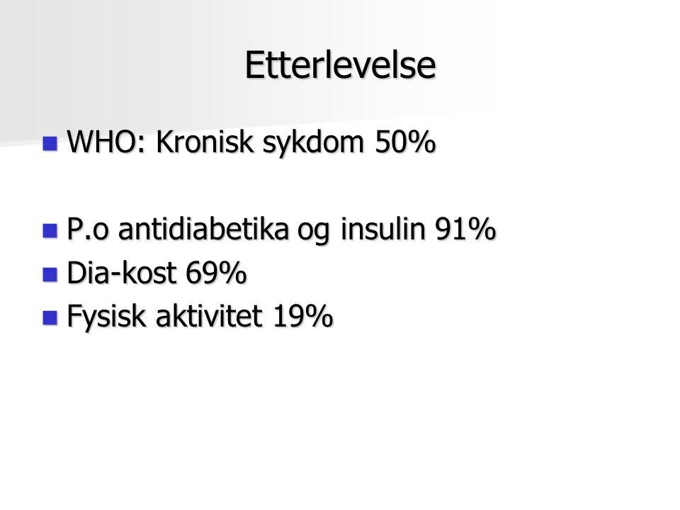 Etterlevelse WHO: Kronisk sykdom 50% WHO: Kronisk sykdom 50% P.o antidiabetika og insulin 91% P.o antidiabetika og insulin 91% Dia-kost 69% Dia-kost 69% Fysisk aktivitet 19% Fysisk aktivitet 19%